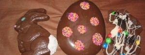 Spring sprinkled chocolate egg.