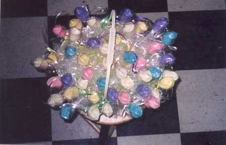 A basket of candy flowers!
